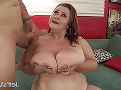 Chubby big boob mature women
