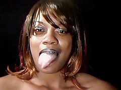 Ebony mom cum mouth matchless